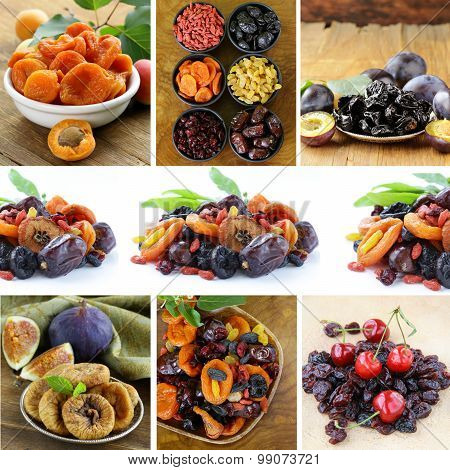 collage assorted dried fruits (raisins, apricots, figs, prunes, goji, cherry,cranberries)