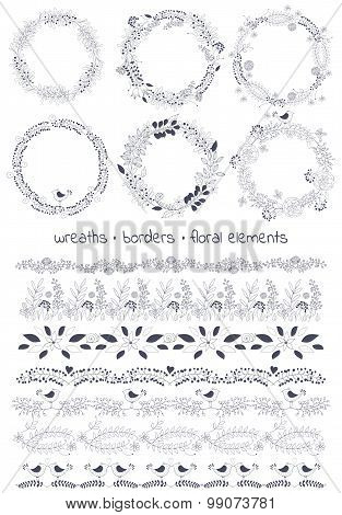 Vector design toolkit includes: 6wreaths,7borders and individual floral elements