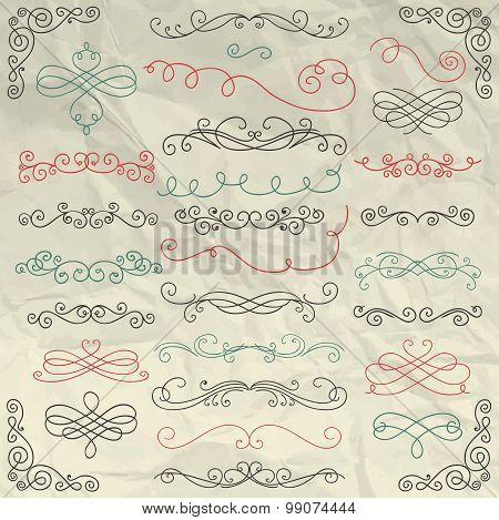 Vintage Hand Drawn Swirls Collection on Crumpled Paper