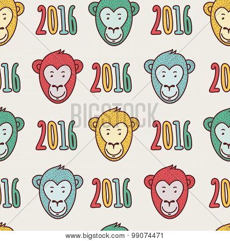 Vector Seamless New Year Hand Drawn Pattern.