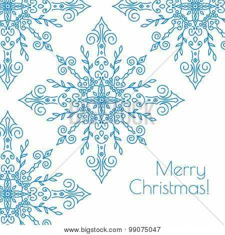 Christmas Card With Hand Drawn Snowflakes