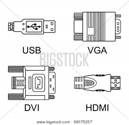 Cable Connectors Set, Vector Illustration