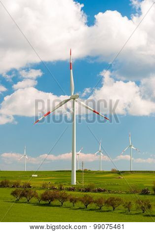 Wind Turbine In The Countryside In Sicily