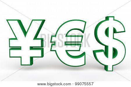 3d yen euro and dollar symbols yes