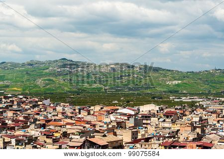 Skyline Of A Rural Town In Sicily