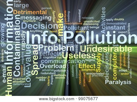 Background concept wordcloud illustration of info pollution glowing light