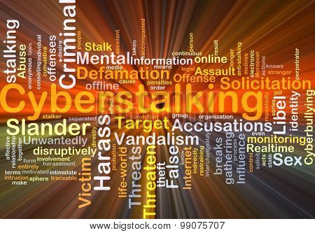 Background concept wordcloud illustration of cyberstalking glowing light