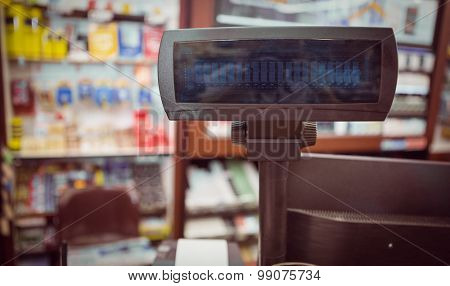 Close up view of cash register at supermarket