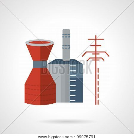 Chemical plant flat vector icon