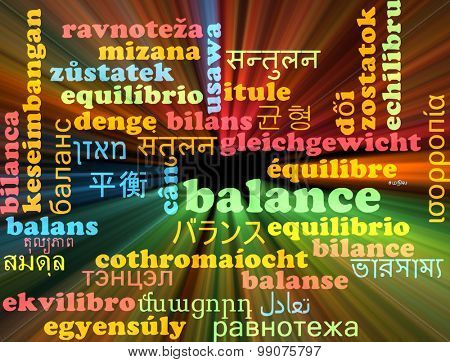 Background concept wordcloud multilanguage international many language illustration of balance glowing light
