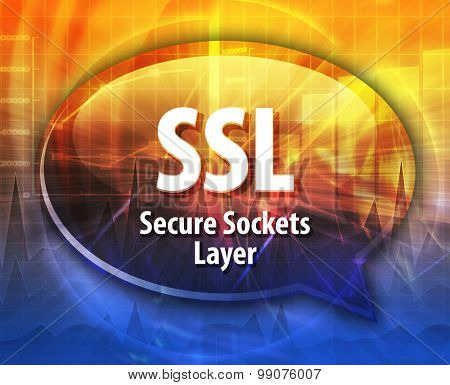 Speech bubble illustration of information technology acronym abbreviation term definition SSL Secure Sockets Layer