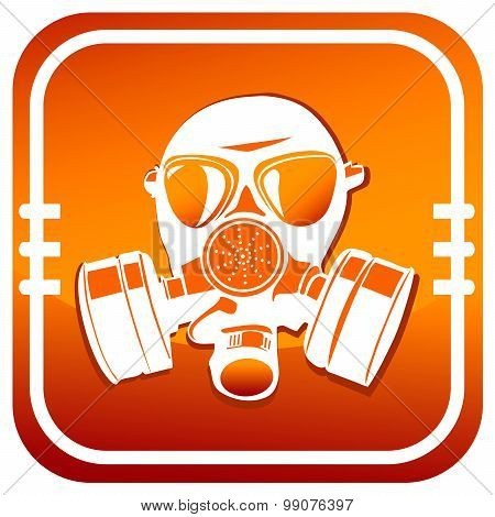 Gas Mask. Orange Icon