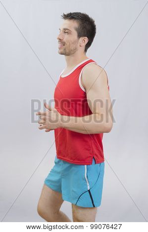 Man running in studio