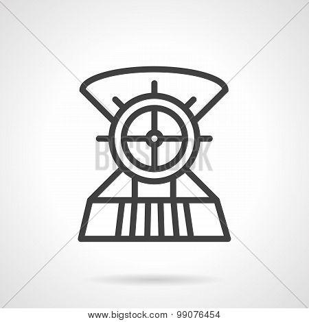 Boat steering wheel line vector icon