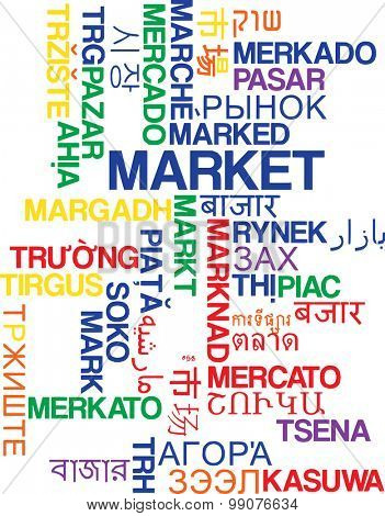 Background concept wordcloud multilanguage international many language illustration of market