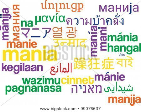 Background concept wordcloud multilanguage international many language illustration of mania