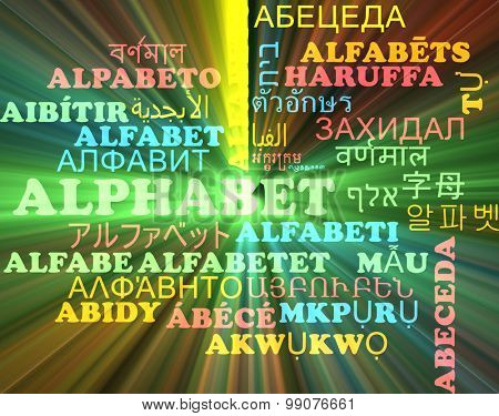 Background concept wordcloud multilanguage international many language illustration of alphabet glowing light