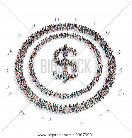 group  people shape  sign Dolar