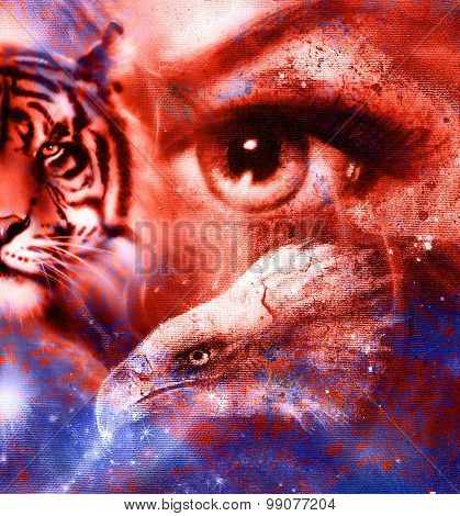 Goddess Woman eye  in space with light stars and eagles head, Eye contact. Abstract color background