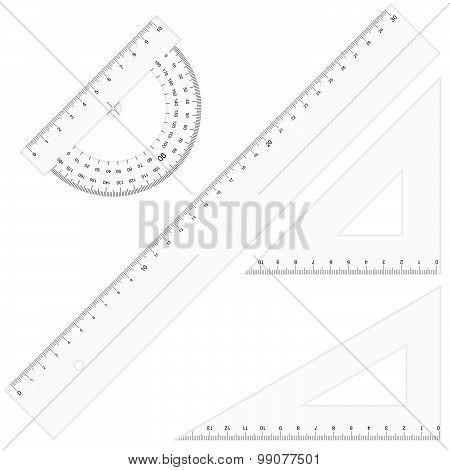 Set - Rulers Triangular Transparent