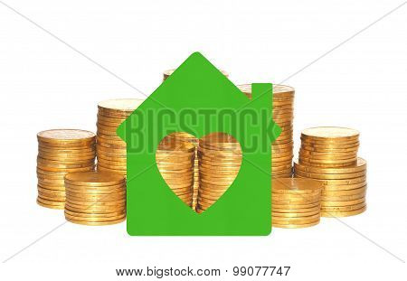 House Symbol Over Golden Coins Isolated On White