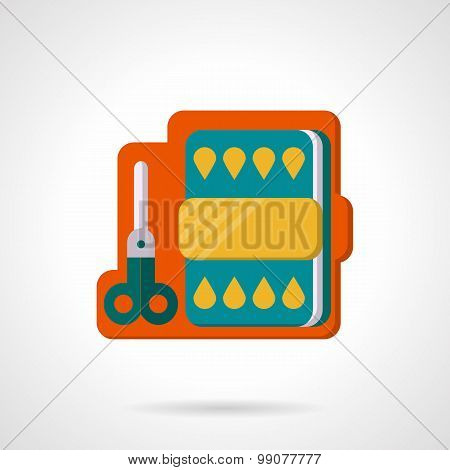 Flat color vector icon for scissors and paper