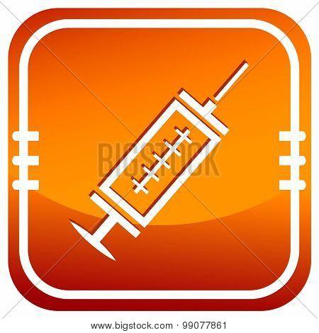 Medical Syringe With Vaccine - Orange Vector Icon