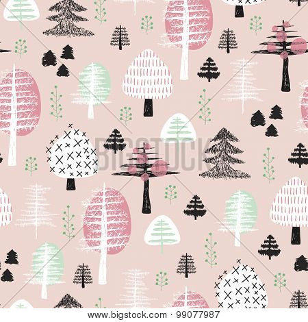 Seamless scandinavian style illustration forest tree christmas theme background pastel pink and mint pattern in vector