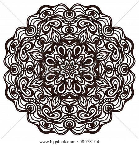 Hand drawn abstract ornamental round lace doily