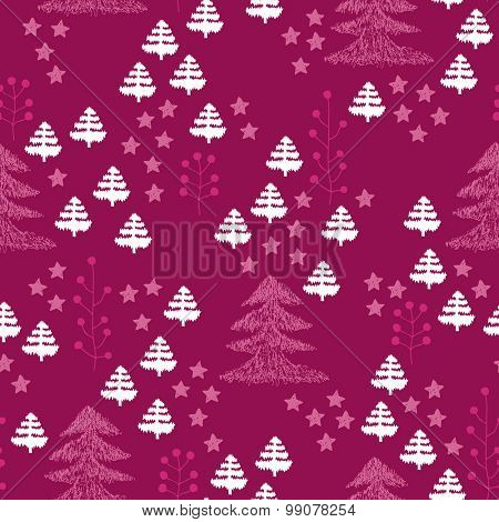 Seamless scandinavian style illustration forest tree christmas theme background pink and red pattern in vector