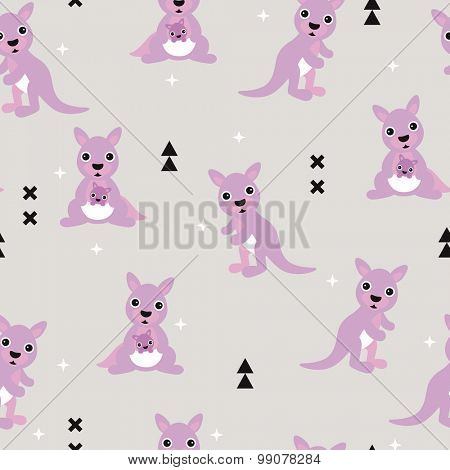 Seamless geometric kids kangaroo australian baby nursery illustration background pattern in vector