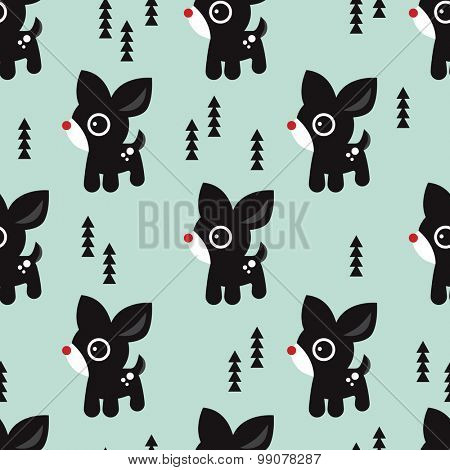 Seamless christmas baby cute red nose reindeer illustration and christmas tree holidays background pattern in vector