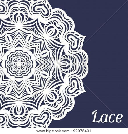Background with hand drawn ornamental round lace doily