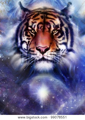 painting fire tiger on color space background, wildlife animals