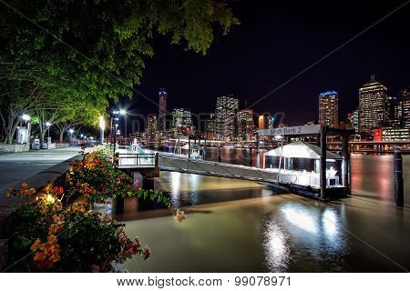 South Bank Ferry Terminals with view of Brisbane City