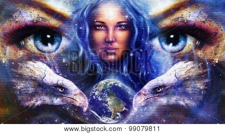 Goddess Woman in space with light stars and eagles head, eyes women with earth. Eye contact, Abstrac