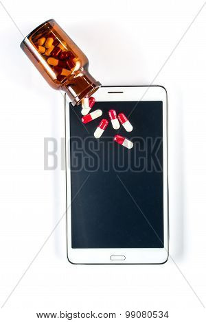 Tablet And Pills, Capsule On Touch Screen