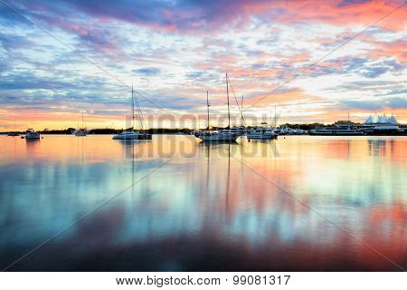 Reflections in The Broadwater at sunrise. Gold Coast, Australia