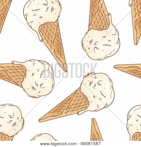 Doodle Ice Cream In A Waffle Cone Seamless Pattern. Vector Illustration