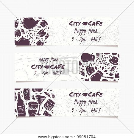 Banners Set With Hand Drawn Drinks. Round Doodle Emblem. Beverages Collection For Menu, Bar Or Cafe