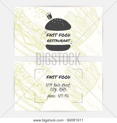 Business Cards Set With Handdrawn Fast Food And Place For Text. Burger Logo