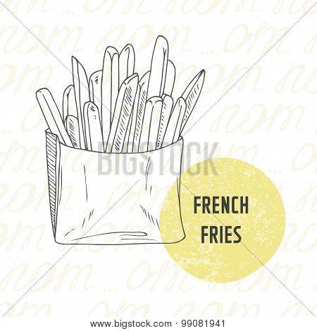 Illustration Of Hand Drawn French Fries Potato