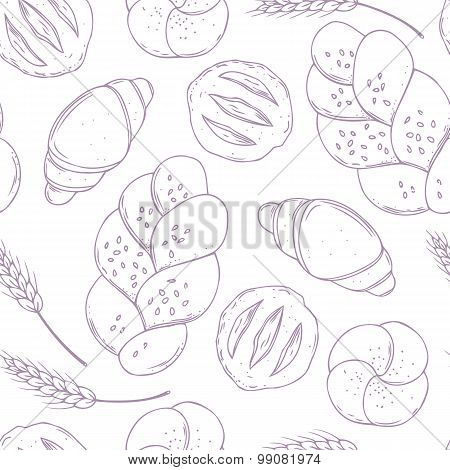 Seamless Pattern With Hand Drawn Bakery Goods. Baking Food. Culinary Background