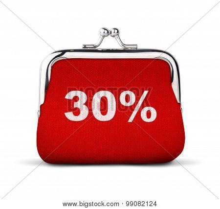 Red Purse, Wallet With Number 30% Isolated On White, Discount Concept