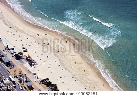 Aerial view of Surfers Paradise beach, Gold Coast