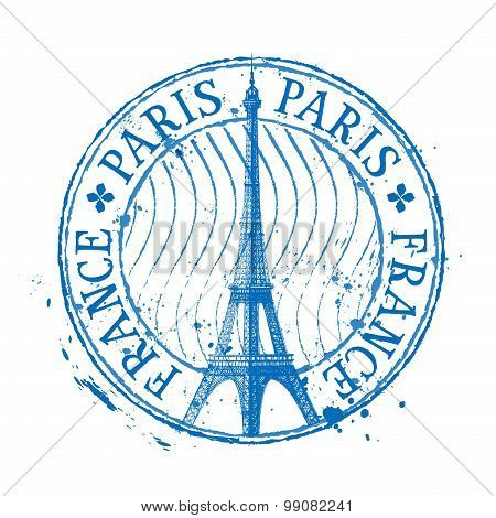 Paris vector logo design template. Eiffel Tower drawn in a simple sketch style