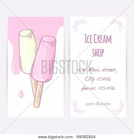 Business Card Template With Hand Drawn Fruity Ice Cream And Sweet Drops