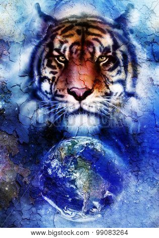 painting  tiger on color cosmic space background, wildlife animals. With Earth and stars, Crackle ef