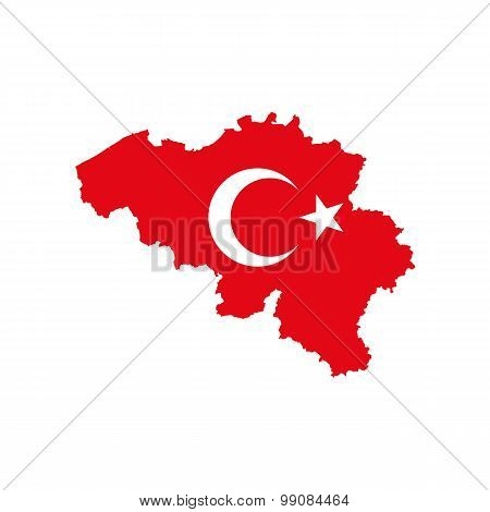 Map flag of Belgium - Turkey. Turks in Belgium
