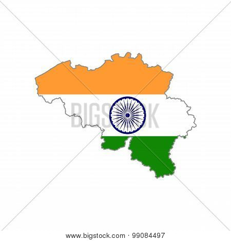 Map flag of Belgium - India. Indians in Belgium